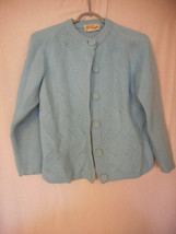 Vintage Size M Baby Blue Sweater Cardigan Button Front Acrylic - $19.79