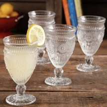 New Pioneer Woman Adeline Clear Embossed 12 oz Drinking Glass Goblet - $36.79