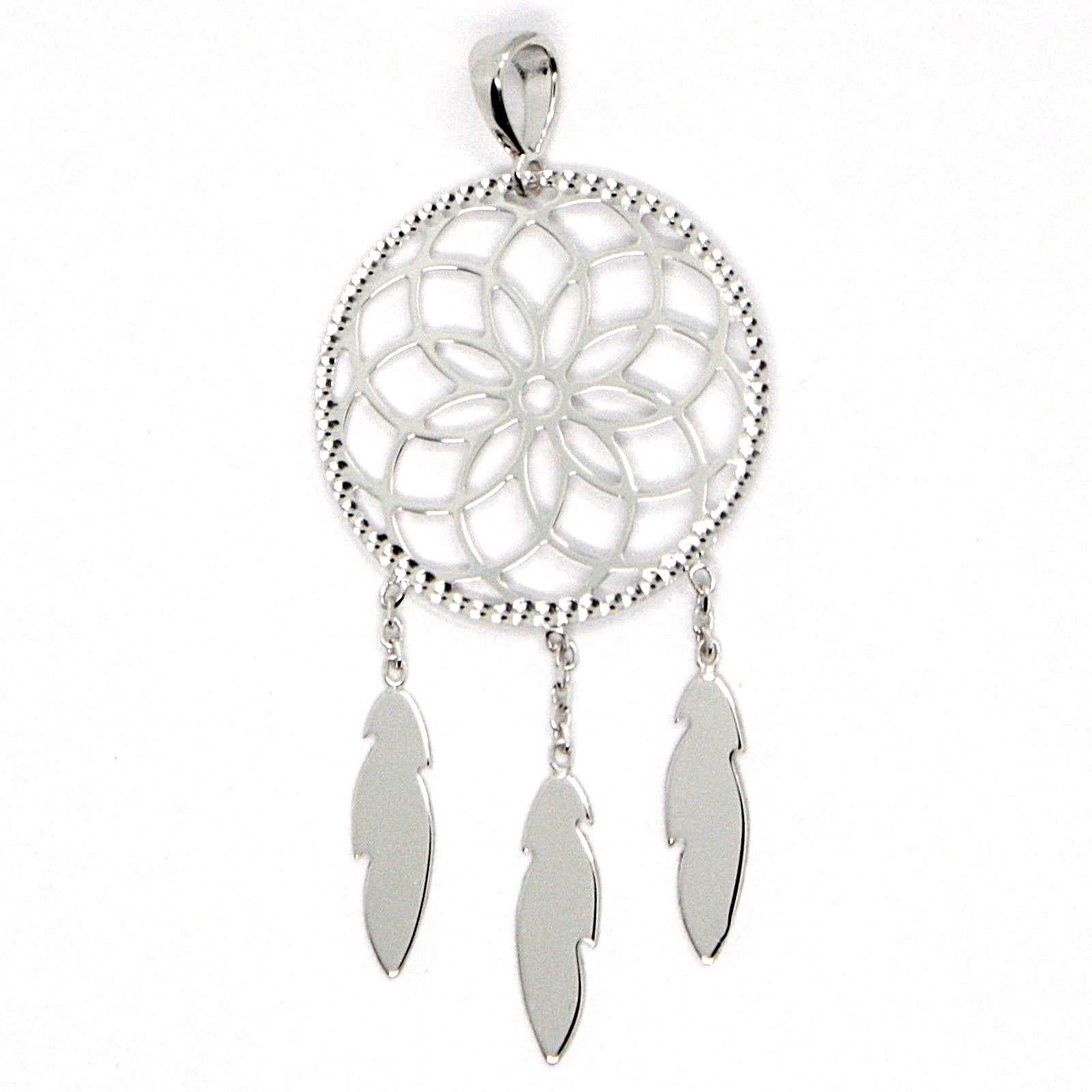18K WHITE GOLD DREAMCATCHER PENDANT, FEATHER, MADE IN ITALY, 1.8 INCHES, 45 MM
