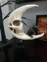Halloween Scary Skull Moon Crow Sculpture Figurine Tabletop Prop Decor - $32.99