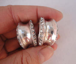 Art Deco Sterling Silver Old Cut Crystal Hoop Earrings Screw Backs - $14.99