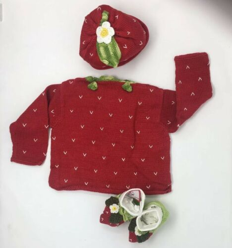 Baby Girls Hand Knit 3pcs Size 24 Months Sweater+Hat+Booties Strawberry Gift NEW image 3