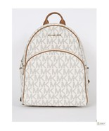 Michael Kors Abbey Jet Set MK Signature Vanilla Large Leather Backpack NWT - $249.00