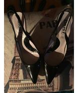 DKNY Insolia Italy Cool Onyx Black Leather Pointy Slingbacks Size 7 1/2 - $29.70