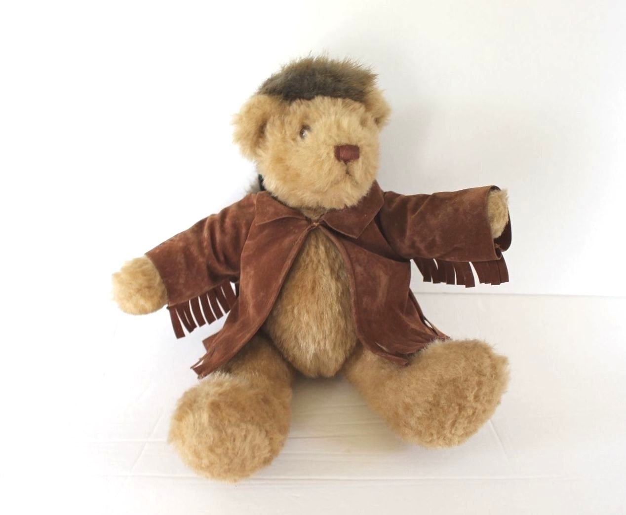"Mary Meyer Plush Teddy Bear 12"" Fully Jointed Coonskin Hat Buckskin Pioneer Toy"