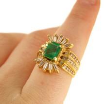 Mens Gold Emerald Ring Diamonds Size L1/2 BHS - $1,586.68