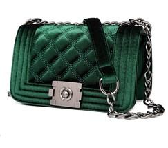 Lovely Women Velour Crossbody Bag Luxury Handbag Chain Velvet Shoulder M... - $23.21+