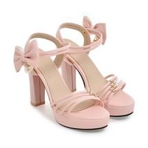 PS340 Elegant bowtie ankle sandles, , US Size 4-8.5 pink - $42.80