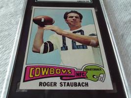 1975 Topps # 145 Roger Staubach Sgc 82 Dallas Cowboys Football !! - $84.99