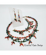 Christmas Necklace Earrings Bracelet Set Red Green - $39.00