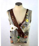 Vtg 90s Jean Vest Jacket Lace Pin Patch Blue Acid Wash Denim Sleeveless ... - $29.69