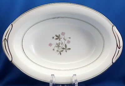 "Primary image for Noritake Duane Oval Vegetable Serving Bowl 10.5""Pink Flowers Platinum Trim 5771"