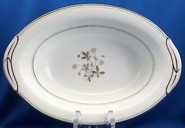 "Noritake Duane Oval Vegetable Serving Bowl 10.5""Pink Flowers Platinum Trim 5771 - $16.83"