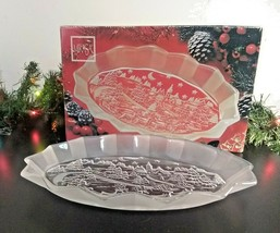 """MIKASA Silent Night Oval Sweet Dish 12"""" Candy Tray Clear Crystal Platter w/ Box - $9.75"""