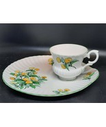 Royal Staffordshire tea cup & snack plate daffodils on white green trimm... - $25.00