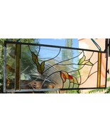 Stained Glass Window Panel Clear Transom sidelight leaf green rust gold ... - $147.51