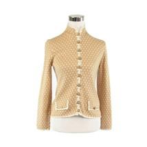 Beige ivory geometric ST. JOHN KNITS FOR LILLIE RUBIN vintage knit jacket M - $99.99