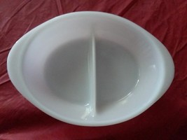"Vintage Glasbake Divided Dish Oval White Milk Glass 12"" - $5.93"
