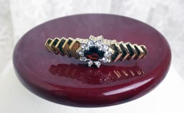 """Vintage Goldtone Tie Pin 1 3/4"""" Red Stone in Center Surrounded by 10 CZ ... - $12.19"""