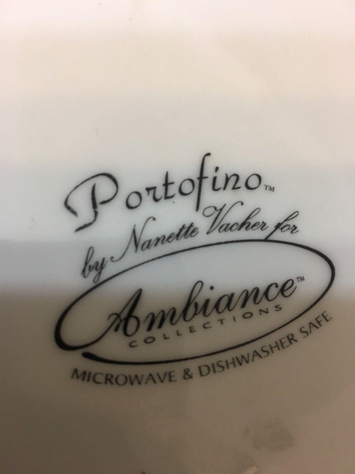 RARE large Nanette Vacher Ambiance Collection Portofino pitcher blue flowers