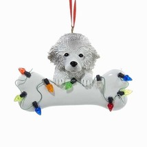 Poodle White w/Bone & Lights Ornament - $10.95