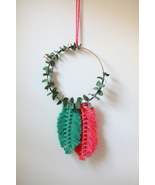Pink and Green Feather Macrame Hoop Wall Hanging - $40.00