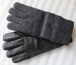 UGG Smart Gloves Wool Blend Knit Leather Palm Grey L/XL New $95 - $69.98
