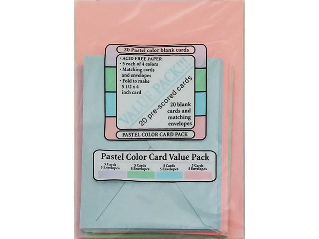 Halcraft USA Pastel Color Value Pack, 20 Pre-Scored Card Bases and Envelopes