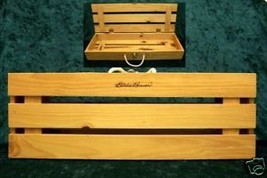 EDDIE BAUER WOODEN CRATE WITH ROPE HANDLE NICE - $15.79