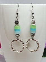 Hammered Hoop and Sea Glass Boho Dangle Earrings  - $22.00
