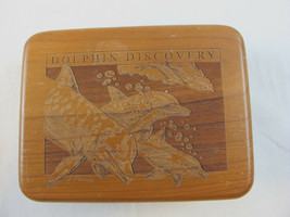 Dolphin Discovery Wood Playing Dice Game Poker Card Set Container Box - $17.77