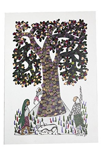 Wall Hanging Gond Painting (Classy Women Under a Tree) Size :- 17/11 Inch