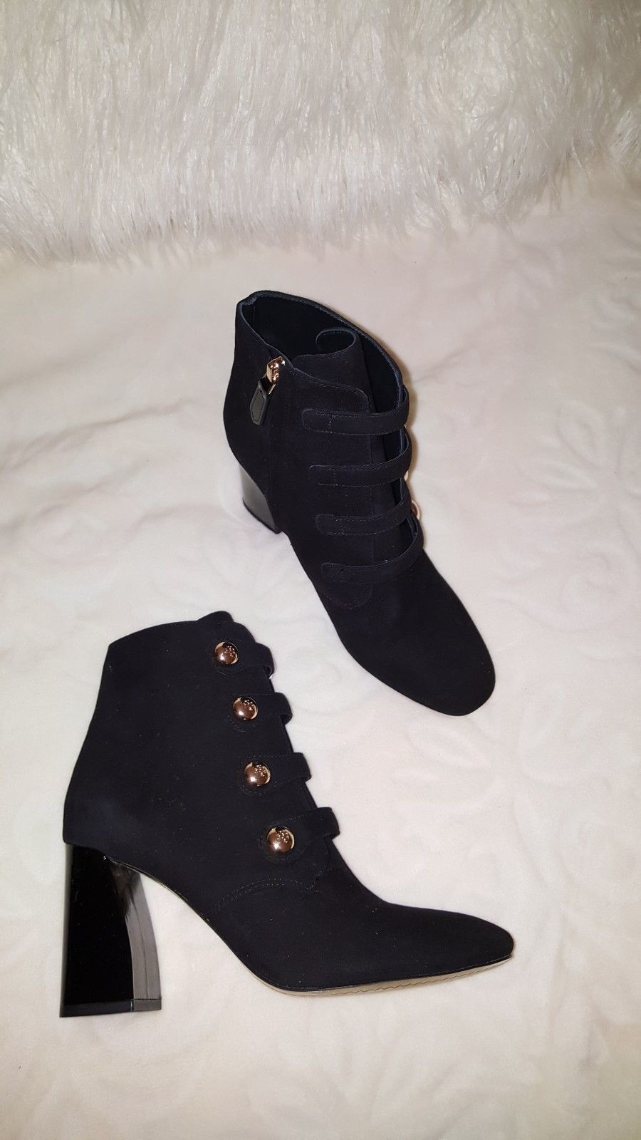 1ff65c85bf2 Tory Burch Black Fine Suede Gold Buttons Ankle Heel Boots Size 8