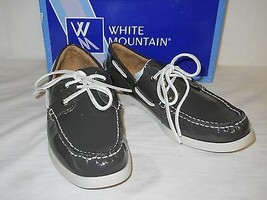White Mountain New Womens Headsail Charcoal Patent Leather Boat Shoes 10... - $68.31