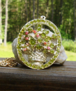 Peridot Chip and Coral Flower Floral Bouquet Pendant w Chain - $75.00