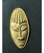 Vintage Brushed Goldtone Long Oval Tribal Face Mask Pin Brooch – 2 and 3... - $15.79
