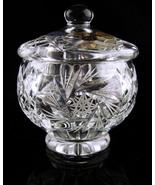 Vintage bohemian glass lidded bowl - czech republic star cut glass sugar... - $65.00