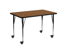 Offex Oak HP Laminate Mobile Activity Table with Standard Height Adjustable Legs - $165.05
