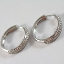 White Gold Earrings 750 18K Circle, Diameter 2 cm, Triple Row Zircon, 3 MM image 3