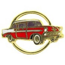 Chevy 1956 Gold Circle Red Car Emblem Pin Pinback  - $7.91