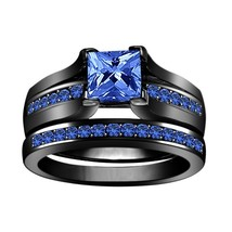 1.3CT Blue Sapphire 14k Black Gold Over 925 Silver Wedding Ring Set Bridal Rings - £68.89 GBP