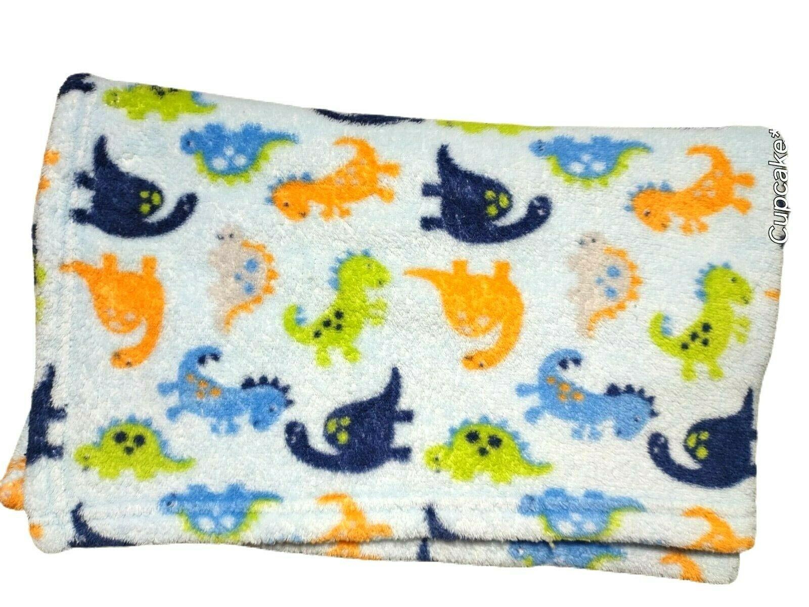 Baby Starters Light Blue DINOSAUR Fleece Blanket Lovey Orange Green Boy Soft EUC - $19.16