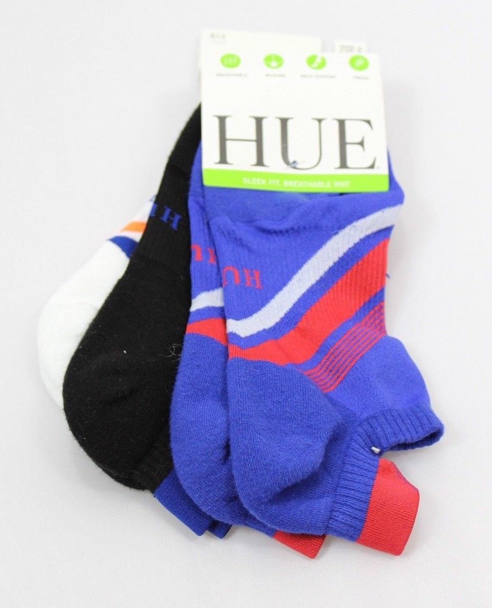 HUE 3-pairs Air Sleek Tab Cushioned Liner Socks Royal Blue Pack