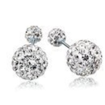 Double Ball cubic zirconia 925 sterling silver Earrings - $12.90