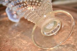 "Fenton? Clear White  MOONSTONE Glass Hob Nail Ruffled Top Vase 7.5""H image 3"