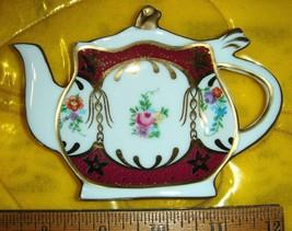 VTG VICTORIAN FRENCH COUNTRY COTTAGE LILAC VIOLET FLOWERS TEA BAG HOLDER... - $47.99
