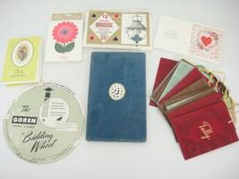 Vintage Bridge Game Lot Goren Bidding Wheel Tallies Blue Velveteen Score... - $10.34