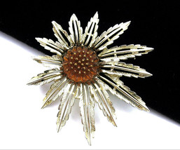STARBURST Sarah Coventry  Ambertone Glass ATOMIC FLOWER BROOCH Vintage P... - $18.99