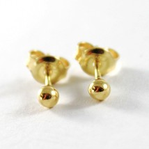 18K YELLOW GOLD EARRINGS WITH MINI BALL BALLS SPHERES SPHERE 3 MM MADE IN ITALY image 1
