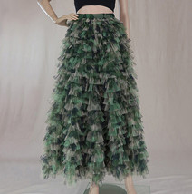Army Pattern Layered Tulle Skirt Outfit Lady High Waist Tiered Maxi Tulle Skirt  image 4